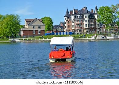 Water walk on a catamaran on the Top lake. Kaliningrad
