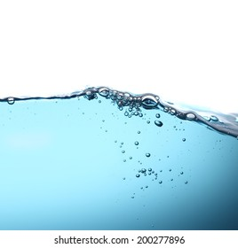 Water wave with air bubbles in white background