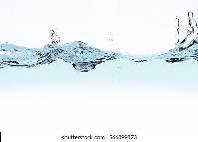 water wave and bubbles over white background.