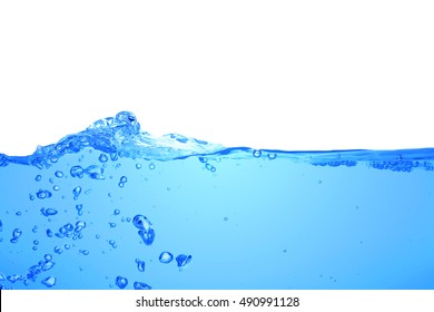Water wave isolated on white background.Clear water waves