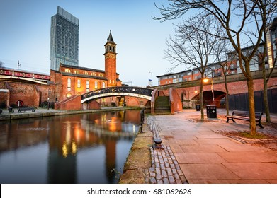 Water way canal area in Manchester , North West England