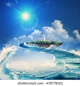 Water way. Flying island. Eco concept with fantastic island over sea surface