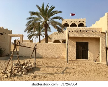 Water well in an reconstructed deserted Arab village, Zekreet, Doha, Qatar