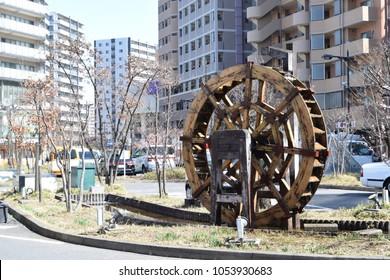 Water wheel in Niiza city, Japan