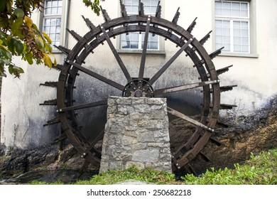 Water wheel at Rhine Falls, Switzerland
