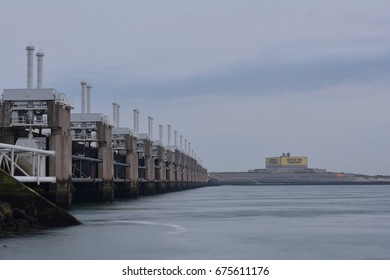 Water you thinking. Text on Oosterscheldekering control building called the Topshuis. Province: Zeeland, Country: Netherlands