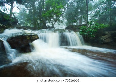 The waterall in forest on rainy season.