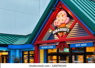 Waterbury, Vermont USA - October 6, 2018: The store sign of Ben & Jerry's Factory, which is home to full-service Scoop Shop, guided factory tour and gift shop.
