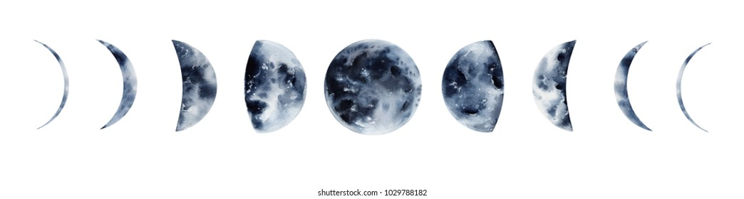 Watercolo moon phaases, Galaxy illustration, moon