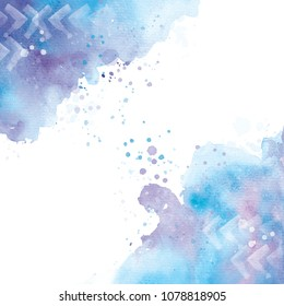 Watercolor abstract background with drops and splashes. Hand drawn illustration.
