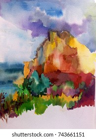 watercolor abstract background landscape hill  mountain sea   wet wash blurred light air textured decoration dye sky clouds sunrise handmade summer colorful