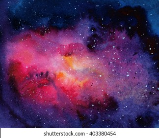Watercolor abstract background of universe bodies
