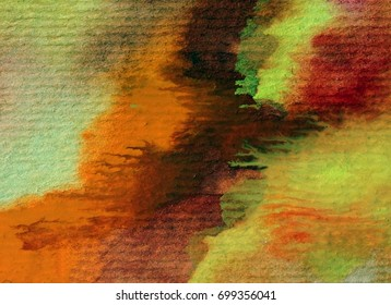 watercolor abstract background  warm green violet orange yellow bright wet wash textured blurred handmade fantasy beautiful  autumn  soft vibrant