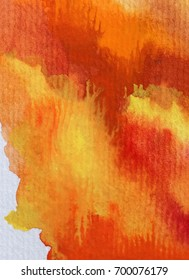 watercolor abstract background  warm red orange yellow bright wet wash textured blurred handmade fantasy beautiful  autumn  soft vibrant