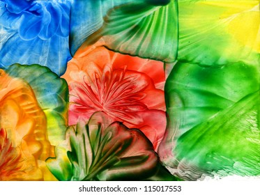 watercolor abstract iridescent flower as background