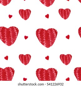 Watercolor All Lovers Day seamless pattern with hearts. Valentines Day romantic background. Wrapping paper design.