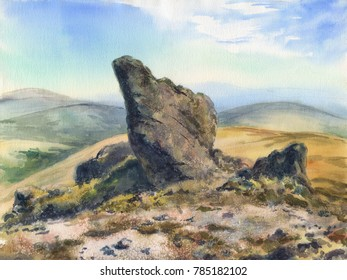 Watercolor: An ancient rock in the Khibiny mountains
