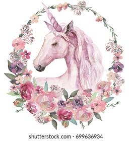 Watercolor animal floral boho illustration - unicorn with pastel flower wreath for wedding, anniversary, birthday, etc. invitations.