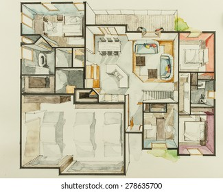 Watercolor aquarelle ink beautiful traditional drawing technique used for graphic representation of floor plan real estate house property, showing cozy family project concept in 3D artistic way