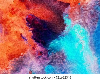 watercolor art abstract  background blue violet  red purple  orange light  wet wash liquid blurred colorful bright romantic handmade mix chaotic vibrant soft fantasy inversion