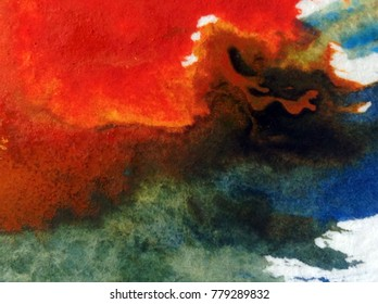 watercolor art abstract background    blue  bright wet wash blurred textured  decoration  handmade beautiful colorful stains blot blob overflow sky clouds storm