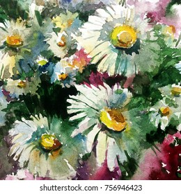 watercolor art abstract background floral flowers chamomiles meadow wild white  bright wet wash blurred textured  decoration  handmade beautiful colorful vibrant  strokes stains