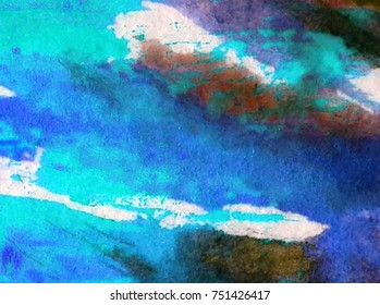watercolor art abstract background  white  blue  bright wet wash blurred textured  decoration  handmade beautiful colorful   mix chaotic  sky clouds cold winter