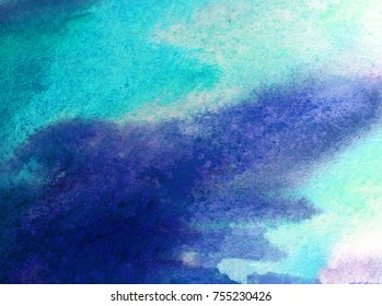 watercolor art abstract background   wight blue  bright wet wash blurred textured  decoration  handmade beautiful colorful  winter snow ice cold