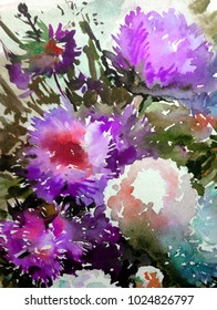 watercolor art  background floral  exotic aster flowers blooming painting bright  wash blurred textured  decoration  handmade beautiful colorful delicate romantic spring