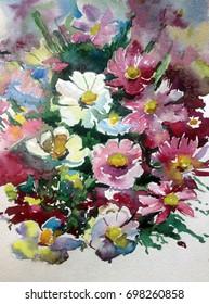 watercolor art background floral flower  pink violet blue white bright wet wash textured handmade fantasy wildflower bouquet beautiful   romantic