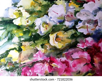 watercolor art  background floral flower   yellow white pink violet wet wash blurred handmade beautiful  colorful  mix fantasy bright   fresh