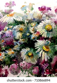 watercolor art  background floral flowers  chamomile violet pink white yellow bouquet  nature wet wash blurred handmade beautiful  birthday present garden