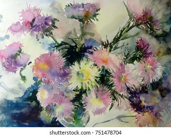watercolor art background floral flowers bouquet asters pink white violet delicate bright wet wash textured  decoration  nature handmade beautiful colorful romantic garden