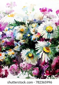 watercolor art  background floral wild chamomile flowers  bouquet painting bright wet wash blurred textured  decoration  handmade beautiful colorful delicate romantic