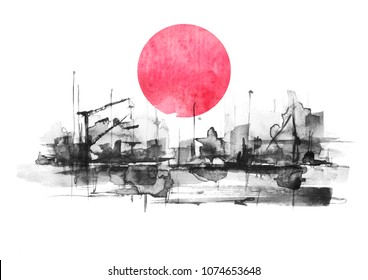 Watercolor art illustration. splash of paint, stain, background. black Silhouettes industrial city zone, urban landscape, red sun, sunset.Watercolor logo, drawing on a white background.