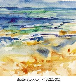 watercolor art sea beach yellow sky blue landscape