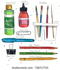 Watercolor art supplies ( brushes, paper clip, pencils, acrylic ink and paint, brush washer). Hand drawn watercolor illustration.
