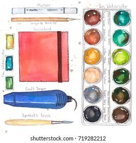 Watercolor art supplies (pallet, sketchbook, pan, craft dryer, brush, marker). Hand drawn watercolor illustration.