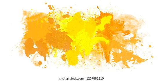 Watercolor artistic background with yellow abstract splashes