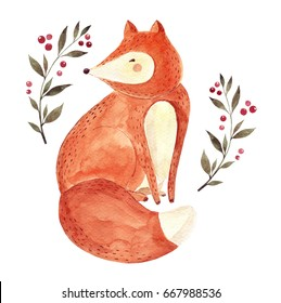 Watercolor artwork with cute fox and floral elements