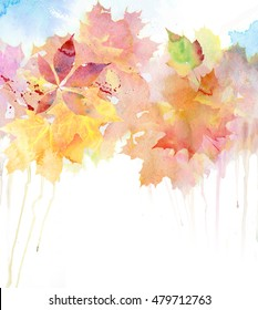 Watercolor autumn background.