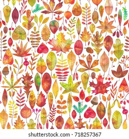 Watercolor autumn fall leaves seamless pattern