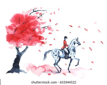 Watercolor autumn tree with red leaves and rider and on dapple grey horse on white. Hand drawing leaf fall and rider man. England equestrian sport illustration.
