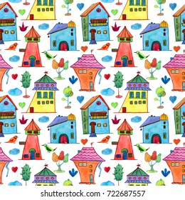 Watercolor baby seamless pattern with houses and trees. Watercolor hand painted on white background. For wallpaper, textile design,  wrapping paper, banner, card, background and invitations