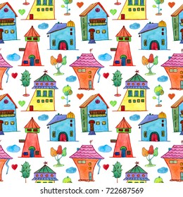 Watercolor baby seamless pattern with houses and trees. Watercolor hand painted on white background. For wallpaper, fabric, textile design,  wrapping paper, banner, card, background and invitations