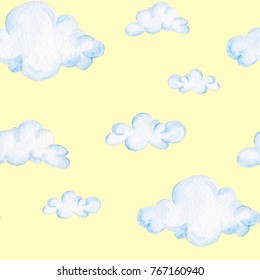 Watercolor baby shower pattern. Blue clouds. For design, print or background.