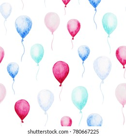 Watercolor baby shower pattern. Blue and pink balloons on the white background. For design, print or background.