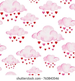 Watercolor baby shower pattern. Pink clouds on the white background. For design, print or background.