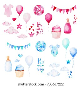 Watercolor baby shower set. Its a boy or girl theme with balloons, baby clothes and cupcake. For design, print or background.