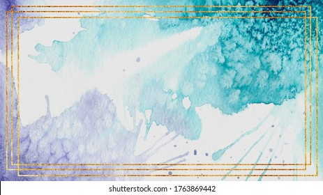 Watercolor background blue purple gold frame